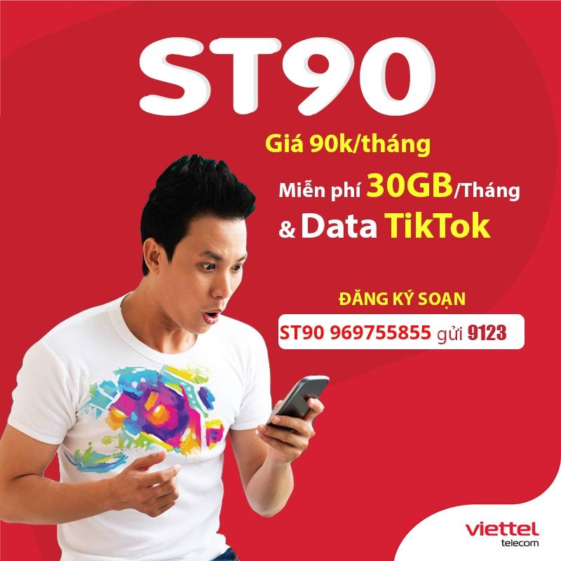 Cách đăng ký gói ST90 Viettel 30GB + free tiktok