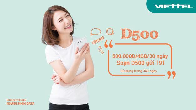 Cách đăng ký gói D500 Viettel