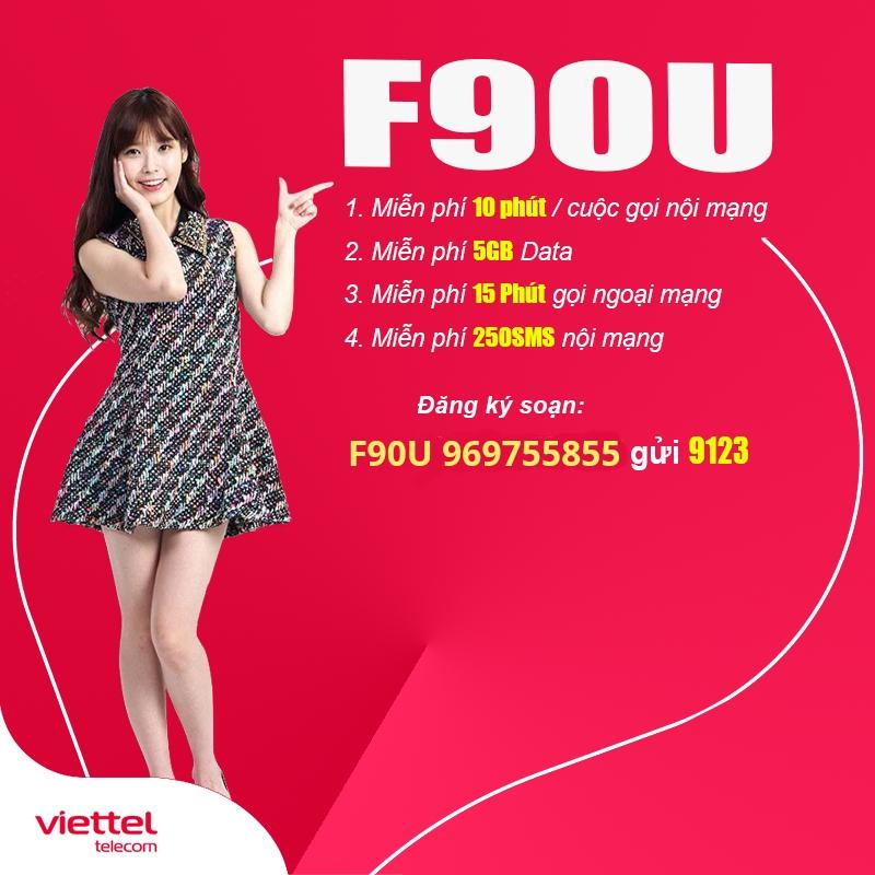 Cách đăng ký gói F90U Viettel ưu đãi 5GB + free sms và gọi nội mạng