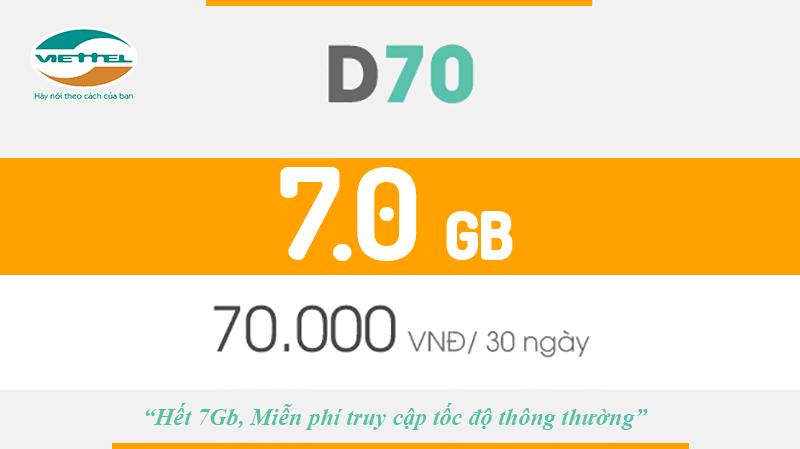 Gói cước D70 Viettel