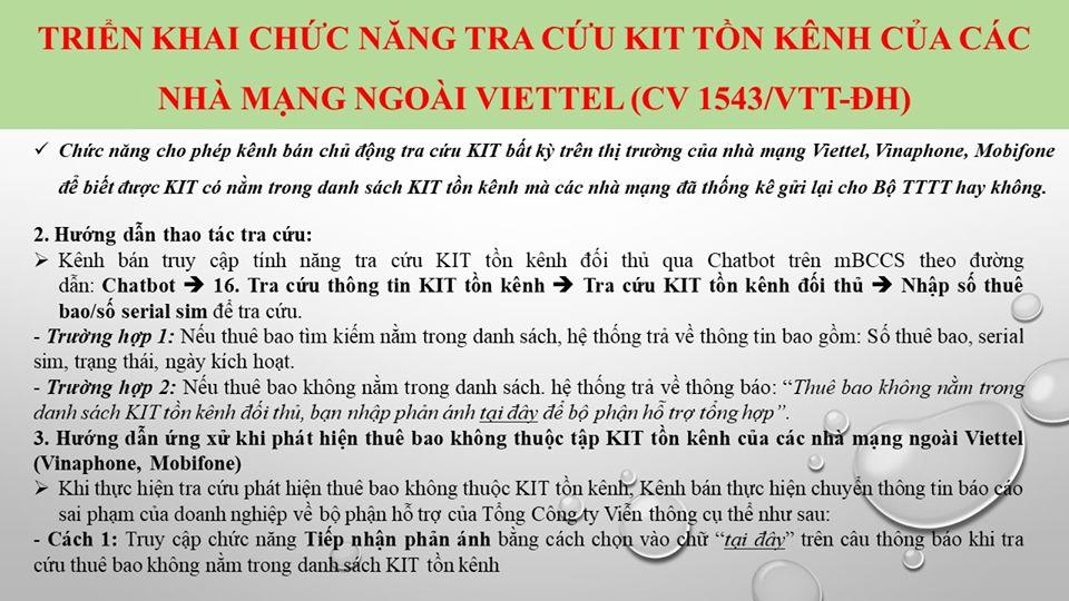 Triển khai chức năng tra cứu kit tồn kênh của các nhà mạng ngoài Viettel