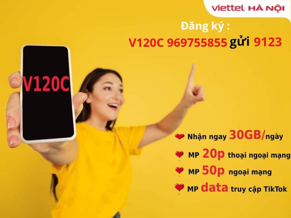 Đăng ký gói V120C Viettel nhận 60GB + miễn phí thoại, tiktok