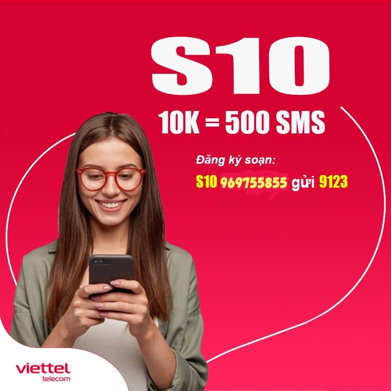 Gói S10 Viettel nhận 500 sms chỉ 10k/tháng